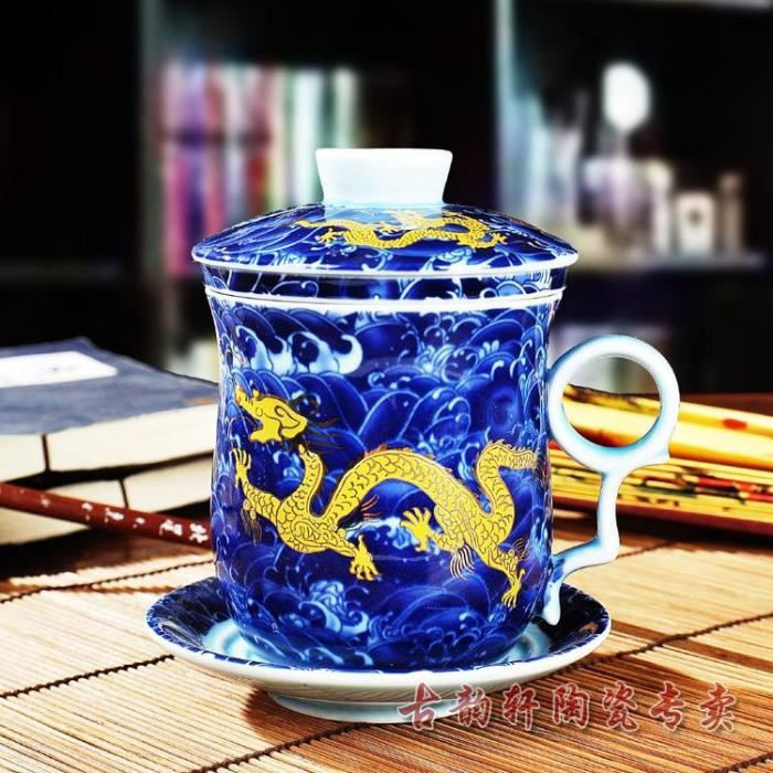 chine dragon bleu d 39 os tasse de th achat vente service th caf cdiscount. Black Bedroom Furniture Sets. Home Design Ideas