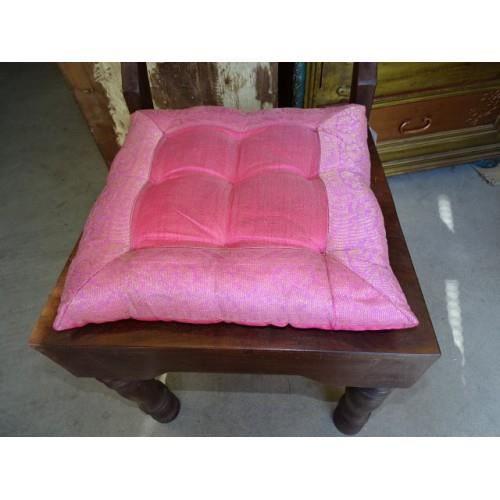 COUSSIN DE CHAISE  Galette de chaise bords en brocard rose