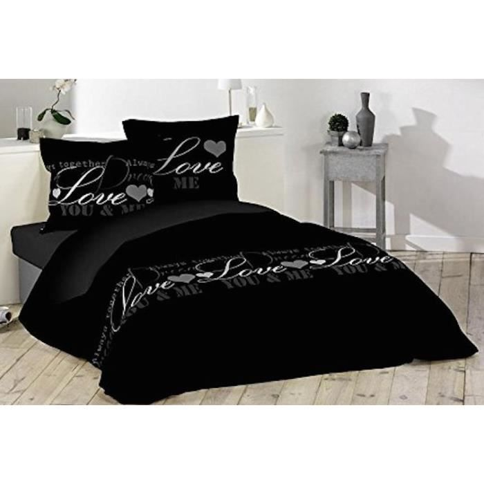 housse de couette noir love 220 x 240cm 100 coton achat. Black Bedroom Furniture Sets. Home Design Ideas