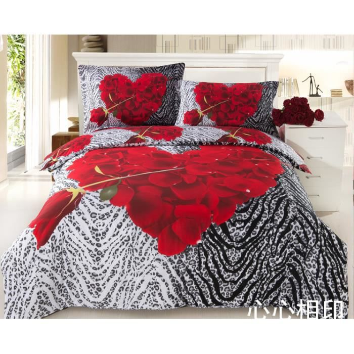 housse de couette 3d drap de lit 2 taies d 39 oreiller en coton 100 rose cadeau id al cadeau. Black Bedroom Furniture Sets. Home Design Ideas
