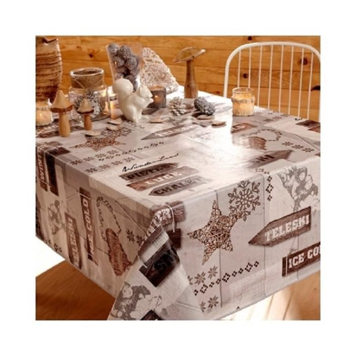 Nappe en toile cir e rectangulaire 140x250 ice cold for Toile ciree pour table de jardin