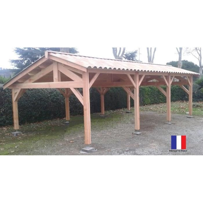 carport abris 3 voitures douglas france 2 pentes achat vente carport carport abris 3. Black Bedroom Furniture Sets. Home Design Ideas