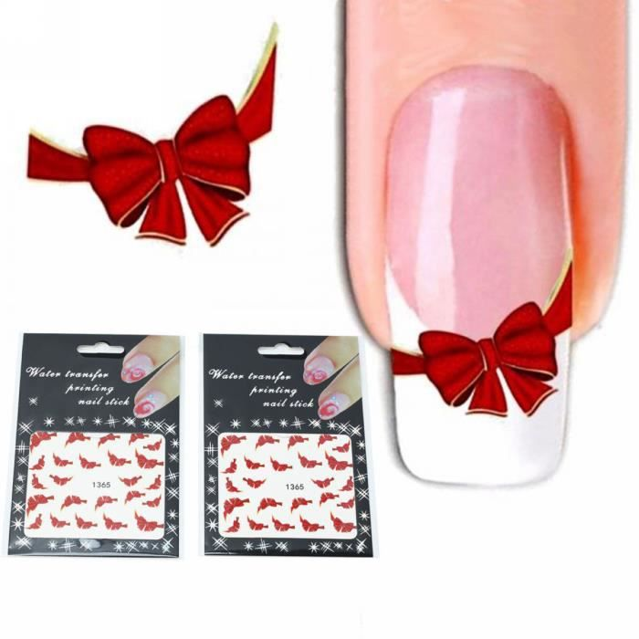 Ongles 2 Papillon Decal Noeud Art Déco Chic French Diy Autocollant Nail Feuilles bED2YW9IeH