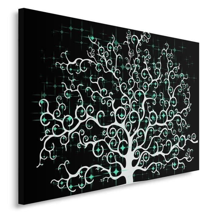 Tableau déco mural imprimé 80x120 MODERNE ABSTRACTION ARBRE NOIR BLANC VERT