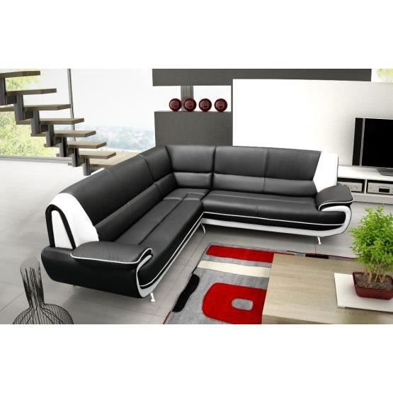 canap d 39 angle jenna xxl reversible noir blanc achat vente canap sofa divan cuir. Black Bedroom Furniture Sets. Home Design Ideas
