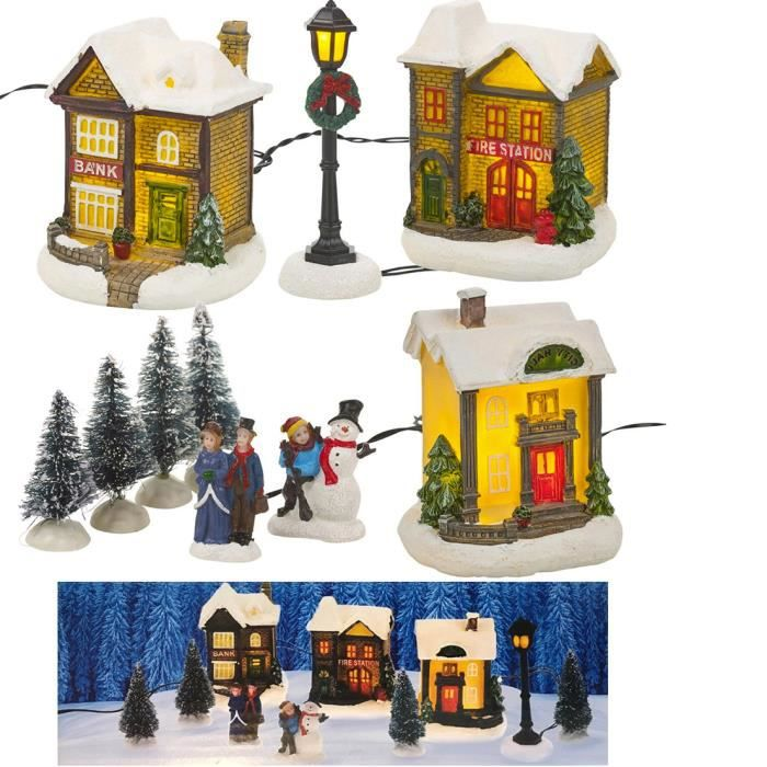 Lot de 2 DEL Light Up 23 cm Pingouin De Noël Figurines//Ornements