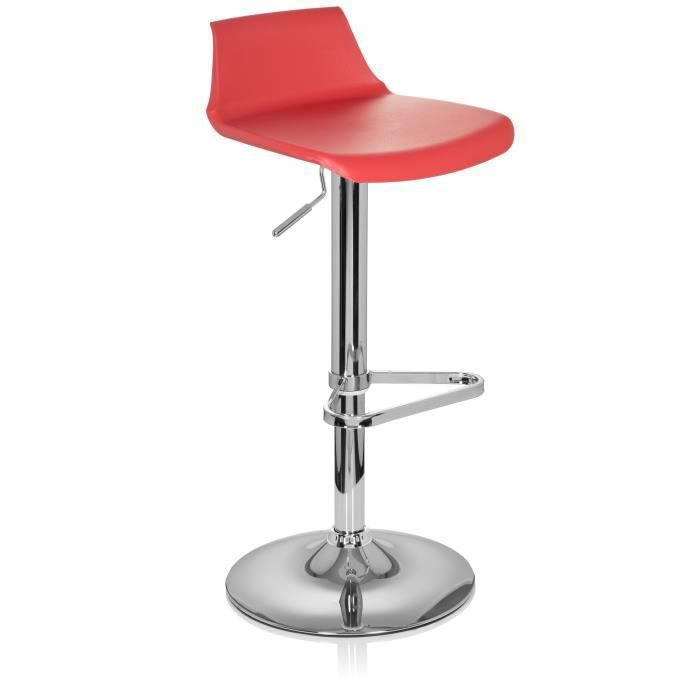 tabouret de bar light 20 plastique rouge hjh office achat vente tabouret de bar cdiscount. Black Bedroom Furniture Sets. Home Design Ideas