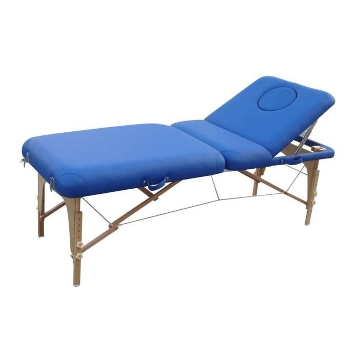Table massage pliante bois bleu dossier relevable achat vente table de massage table massage - Table de massage pliante bois ...