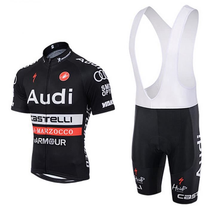 audi maillot de cyclisme noir manches courtes cuissard bretelle v lo selle de silicone. Black Bedroom Furniture Sets. Home Design Ideas