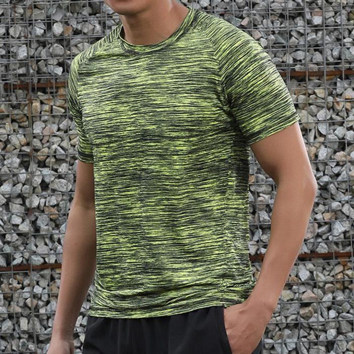 T-SHIRT Casual Men été O-Neck T-shirt Fitness Sport respir