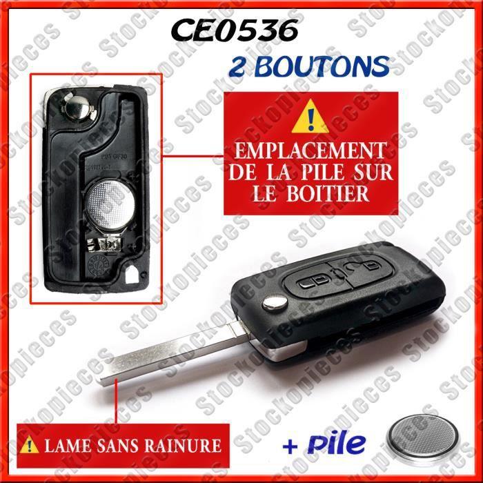 CE536 Clé Pliable Coque Télécomande PEUGEOT 2 Boutons 207 308 et Citroen RÉF
