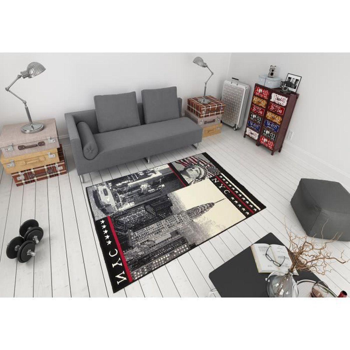 Tapis Salon New York Nyc Gris Rouge Debonsol 120x170cm Achat Vente Tapis Cdiscount