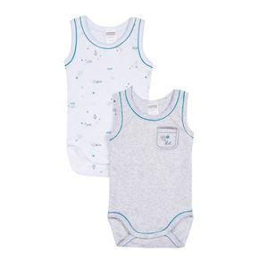 BODY Lot de 2 bodies bébé sans manche Garçon ABSORBA -