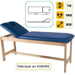 Table de massage Lit de massage en bois, hêtre massif Bleu Lavan...
