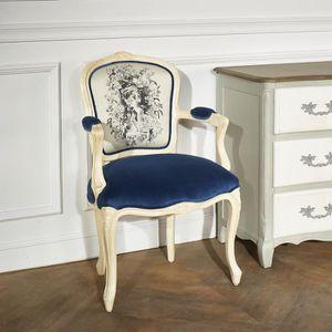FAUTEUIL Fauteuil Cabriolet  Louvre tissus Bleuet
