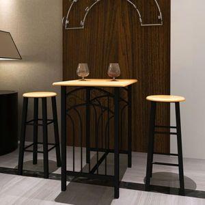 MANGE-DEBOUT Ensemble Table Haute de Bar Mange-debout avec 2 Ta