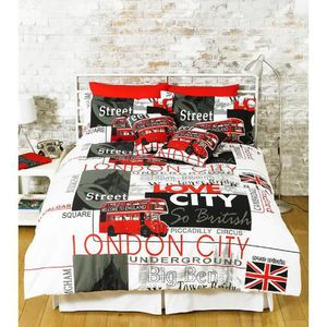 housse de couette london achat vente housse de couette london pas cher cdiscount. Black Bedroom Furniture Sets. Home Design Ideas