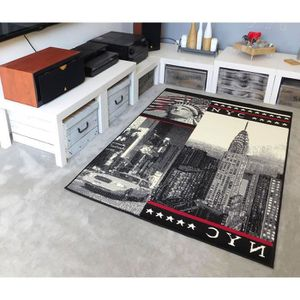 TAPIS Tapis salon NEW YORK NYC gris rouge DEBONSOL - 120