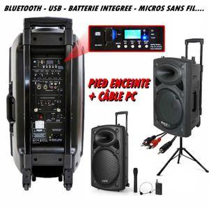 PACK SONO IBIZA PORT 12 VHF BT + PIED + CÂBLE PC dj