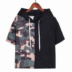 T-SHIRT Mode Femmes Camouflage Patchwork manches courtes a