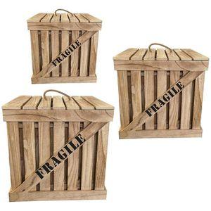 BOITE DE RANGEMENT Lot de 3 Cagettes CARGO coloris naturel en bois  -