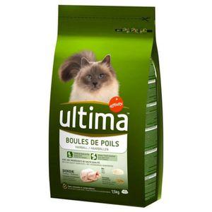 CROQUETTES Ultima Croquettes Chat Boules de Poils Dinde 1,5Kg