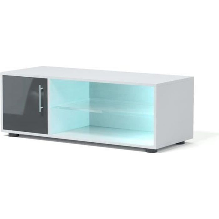 KORA Meuble TV contemporain avec éclairage LED laqué gris - L 100 cm