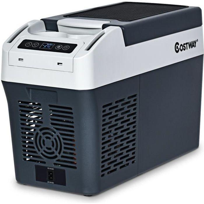 COSTWAY 12L Réfrigérateur de Voiture Portable à Compresseur 12V / 24V (DC), 100-240V Ampoules d'Eclairage Protection de Batterie