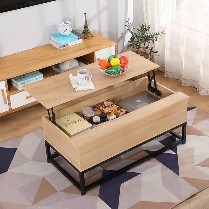 YINQ Table Basse avec Plateau Relevable - Chêne - DETROIT design industriel.