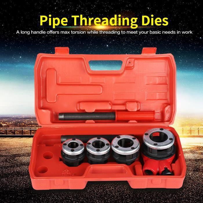 Kit de filetage de tuyau Kit de filetage pour tuyau de plombier manuel à 4 matrices HB043