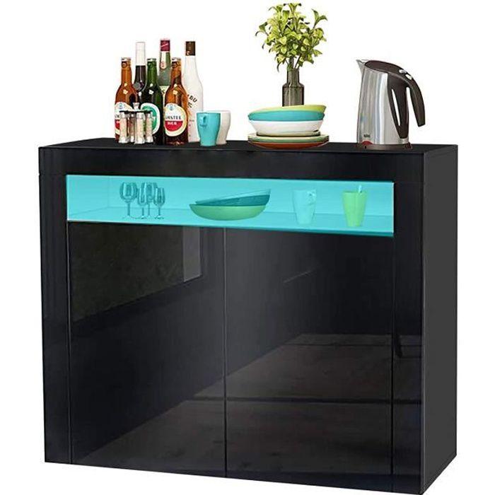 Buffet bas contemporain noir laqué brillant - L 108 cm x 40 cm x 92 cm - 2 portes - UK Stock