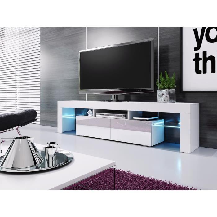 BANC TV BLANC LAQUE AVEC LEDS 1M90