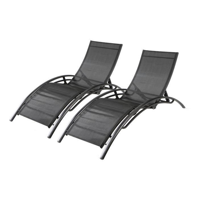 Duo de transats en aluminium Bahia - Noir/Noir