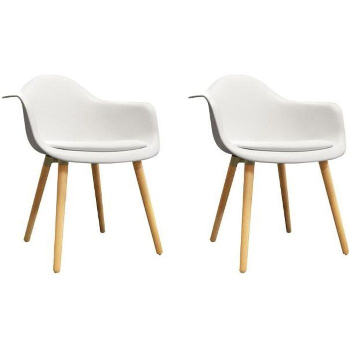 2 chaises BLANCHES accoudoir - fauteuils design vintage scandinave - pieds bois - HANS