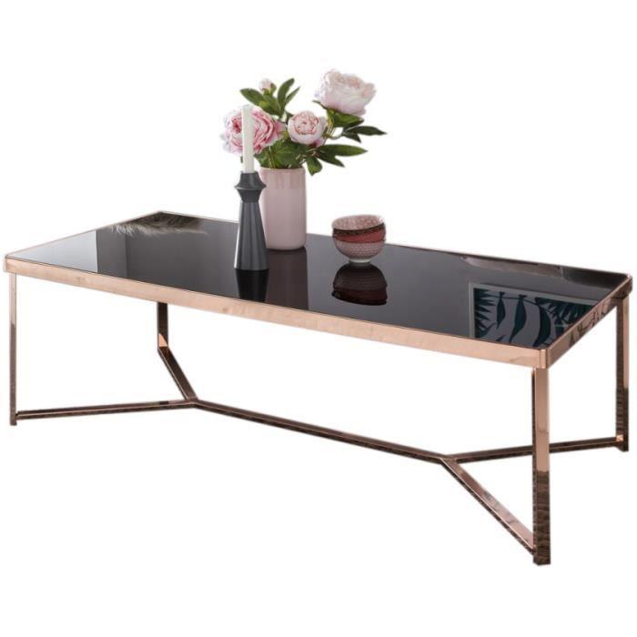 Table basse en verre noir design en acier L. 120 x P. 60 x H. 60 cm cm collection Mullheim Noir, Or