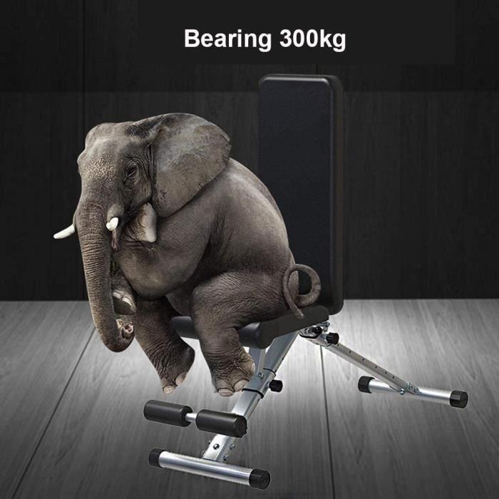 Three Banc d'haltères Chaise de fitness auxiliaire réglable multifonctionnelle pliante - Noir