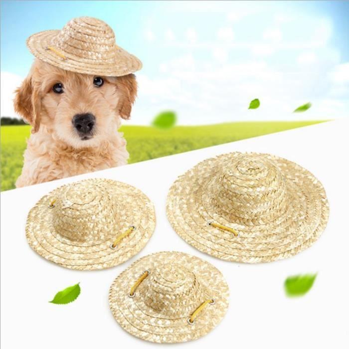 Chapeau,Chapeau de soleil pour animaux de compagnie Chapeau de Style hawaïen tissé à la main, chapeaux réglables pour - Type A-S