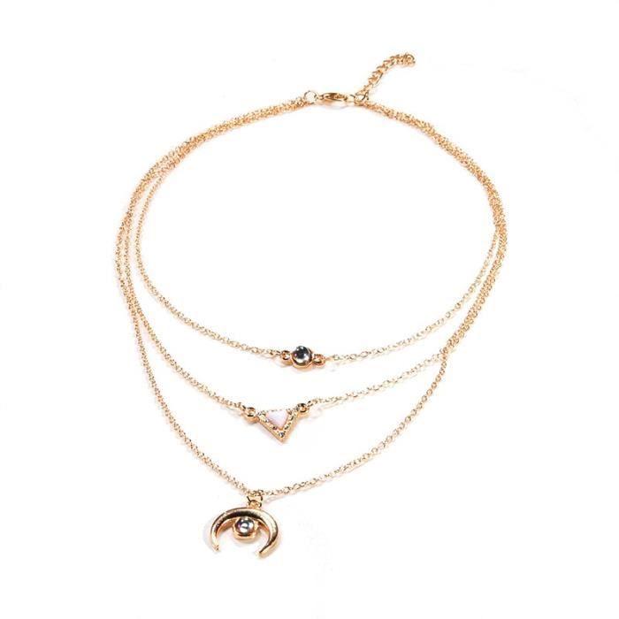 Mode tempérament Triangle lune chandail chaîne collier femmes or multicouche pendentif tour de cou créatif pie*ES37693