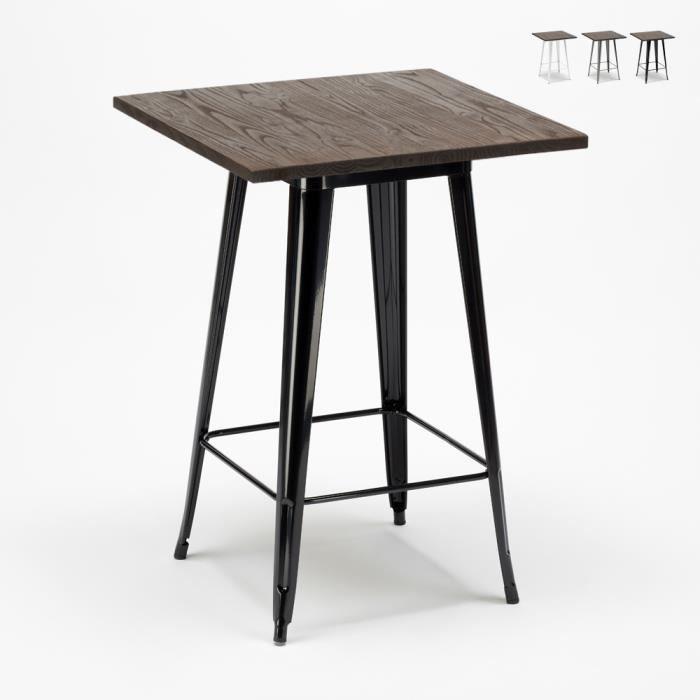 Table haute Tolix industriel 60x60 - métal acier et bois - WELDED - Noir