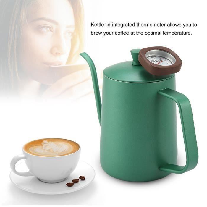 600 ml Théière thermomètre bec bouilloire à café en acier inoxydable( vert)-CER
