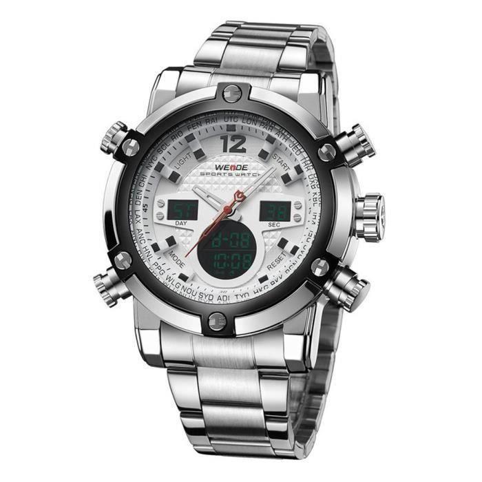 WEIDE WH-5205 Hommes Garçons Montre-Bracelet Sportif LED Numérique et à Quartz Affichage Deux Fuseaux Horaires avec Date - Semain...