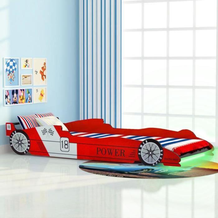 643847 Lit Grand Lit enfant voiture de course - Structure de lit - avec LED 90 x 200 cm Rouge Meuble d'excellent