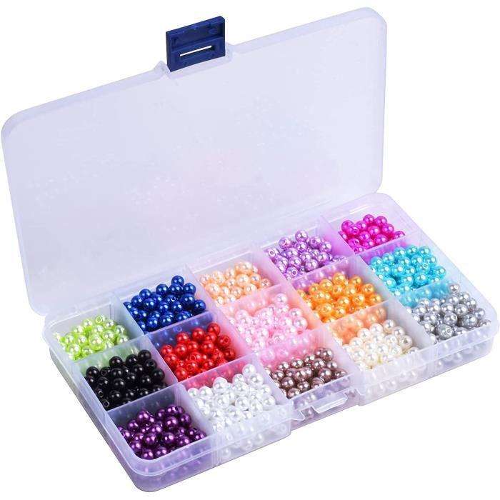 1500-Pièce 15-Couleur Demi-Sphère Perles Rondes Perles Nacrées Teint pour Bricolage Artisanat Colliers Bracelets Boucles (6mm)