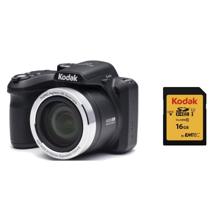 KODAK AZ401 Appareil Photo Bridge - Zoom x40 + KODAK Carte 16 Go