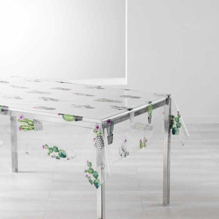 CDaffaires nappe cristal rectangle 140 x 240 cm pvc imprime 14-100e cactus spirit