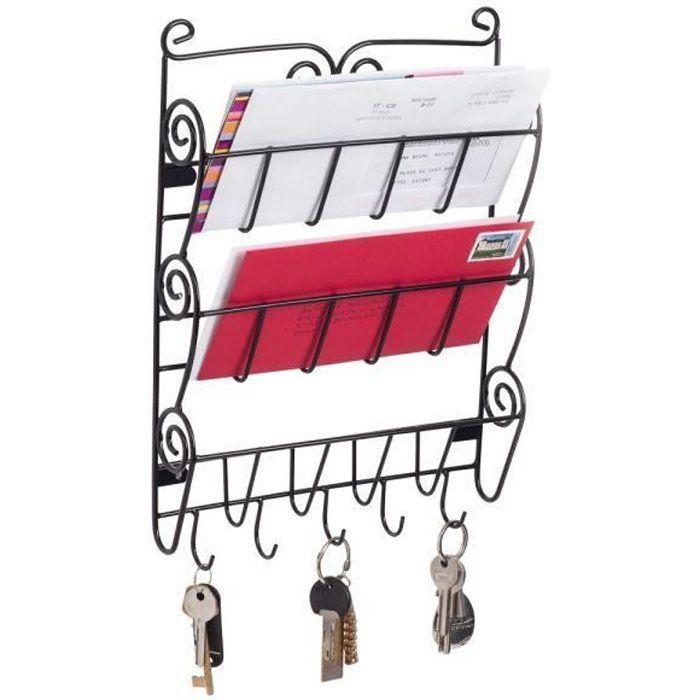 Range courrier mural style fer forgé - porte journal - porte clés