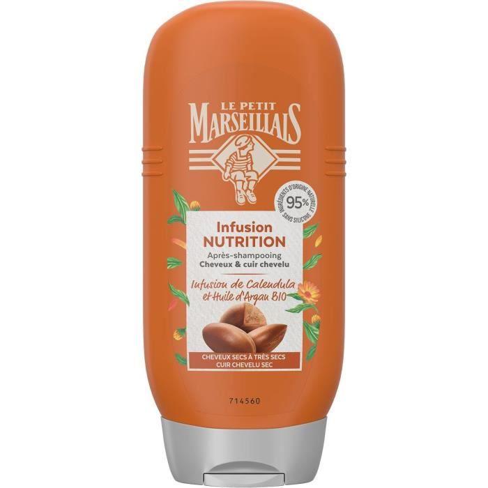 LE PETIT MARSEILLAIS Après-Shampooing Nutrition - Infusion Calendula et Argan Bio - Flacon de 200 ml