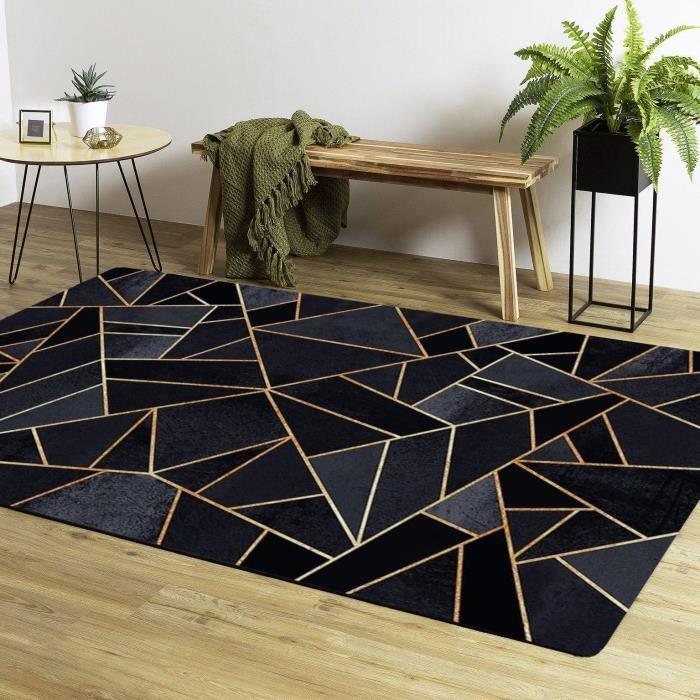 Tapis Moderne Noir/Jaune Doré 80x150cm
