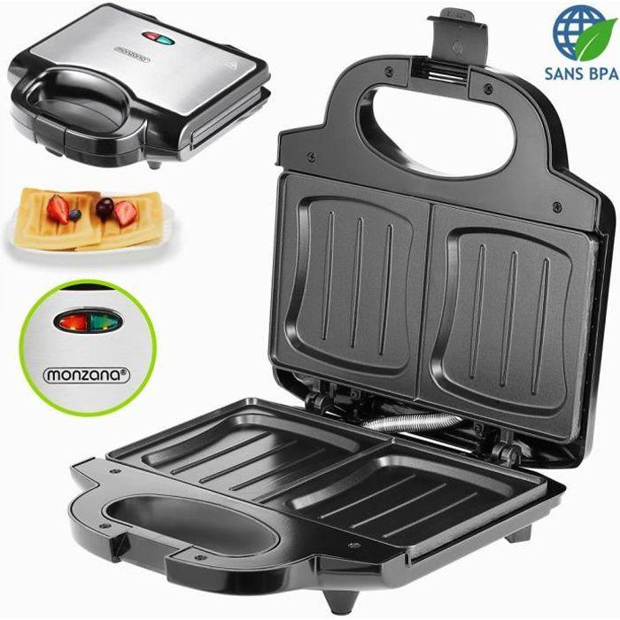 Appareil à sandwichs XXL noir 750W sans BPA panini grill électrique croque-monsieur toast poignée machine à sandwichs cuisine