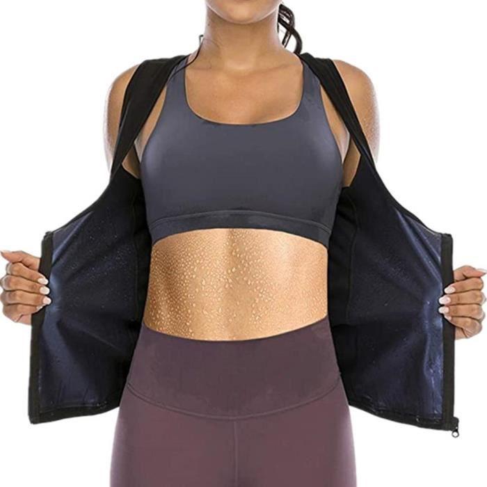 Sudation Débardeur pour Femme Sauna T-Shirt Amincissante Perte de Poids Gilet de Sudation Fitness Body Shaper avec Fermeture Éclair